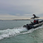 Amphibious 9.8 meter Rigid Hull Inflatable boat.