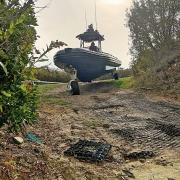 Amphibious 9.8 meter Rigid Hull Inflatable boat.
