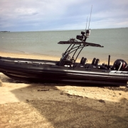 Amphibious 9.8 meter Rigid Hull Inflatable boat. 9.8 Beached