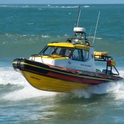 Lotto Challenger, the new 8.5 metre Cabin Class rescue boat was launched for the first time in Port Alfred yesterday. Picture NSRI